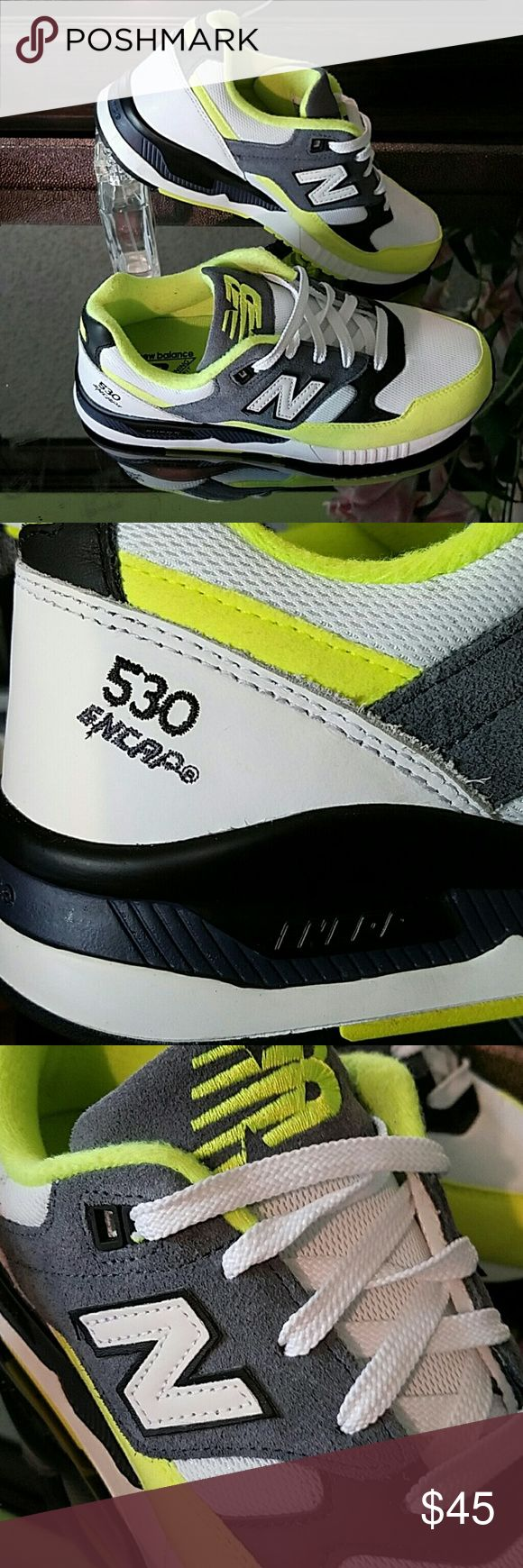 Brand New - Never Worn. White New Balance with black and neon accents. New Balance Shoes Athletic Shoes