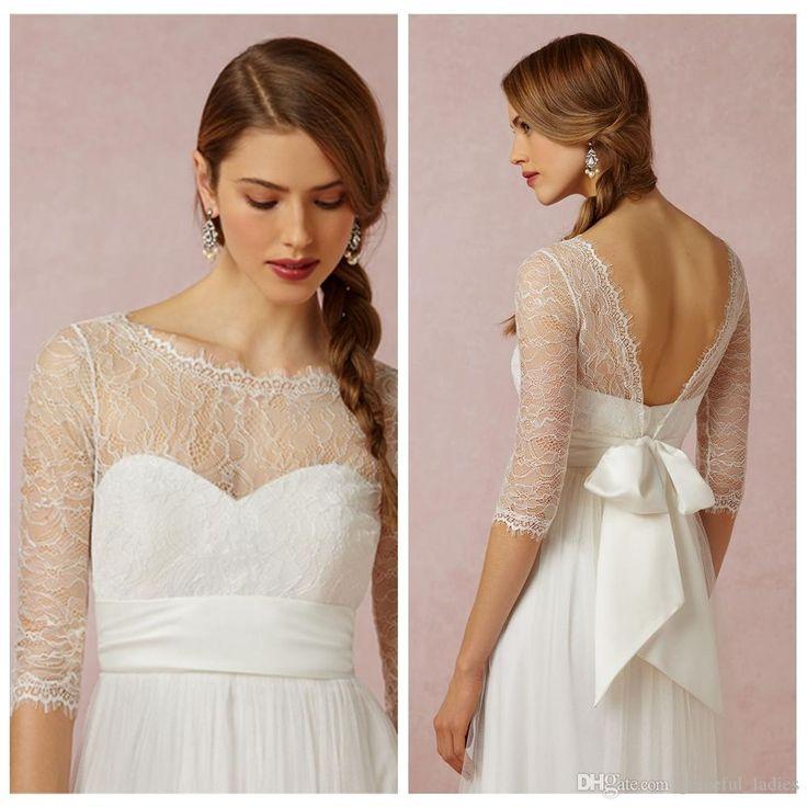 Elegant Lace Bridal Wraps Jackets Bolero Wedding 3 4 Sleeve Tulle Wrap Bateau Neck Illusion Sleeves Custom Made Size
