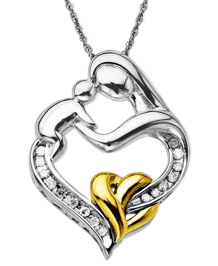 Mother and Child Diamond Pendant Necklace in 14k Gold and Sterling Silver (1/10 ct. t.w.)