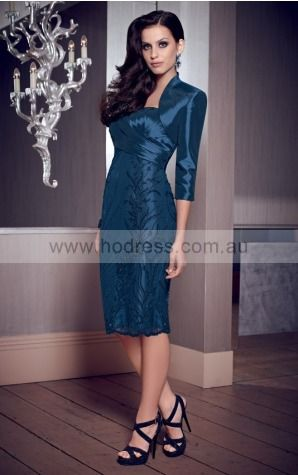 Sweetheart 3/4-Length Sleeves Sheath None Knee-length Formal Dresses afba307050--Hodress