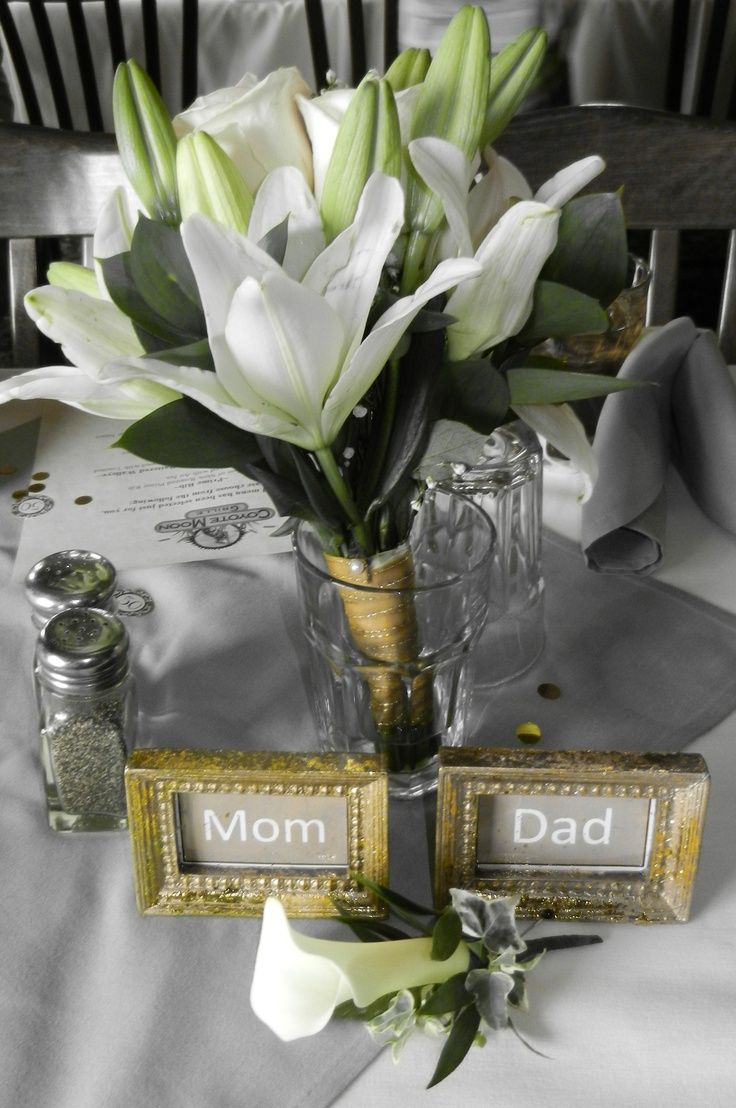 25 best images about 50th anniversary party on pinterest for Golden wedding table decorations