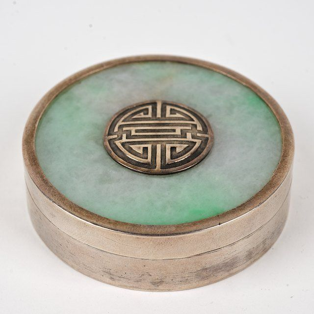 "Chinese jade mounted silver circular box: Late 19th\20th c., marked on underside of base, 0.75""h x 2.5""dia"