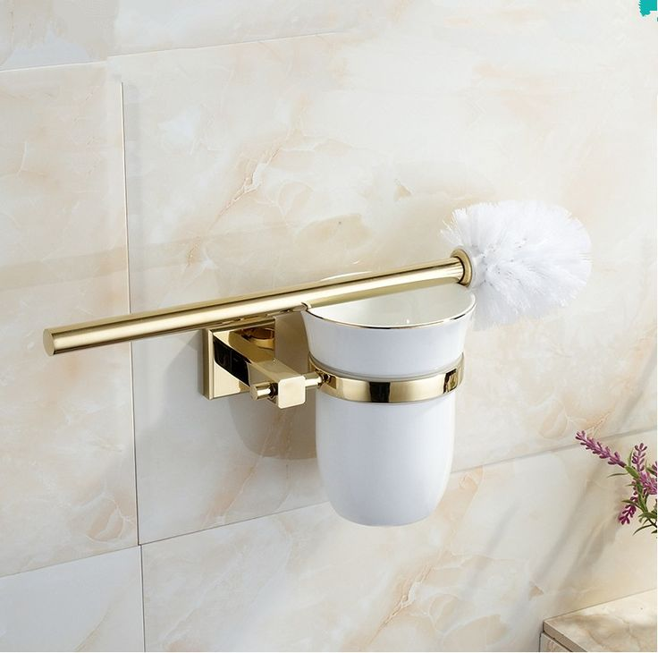 crystal bathroom accessories sets%0A      Classic Bathroom Hardware Accessories High quality Brass Gold finish  Toilet Brush Holder u    WC Creative Brush