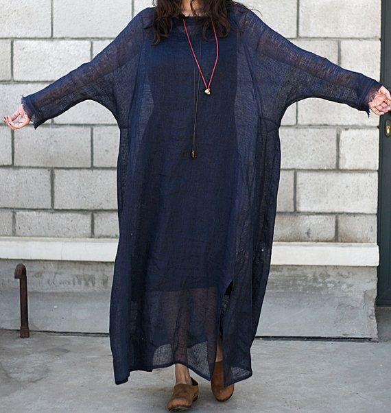 women linen maxi dress / Plus Size Dress/ Big women clothes(B302)