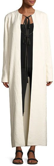 The Row Tiel Crinkled Silk Duster Coat, Light Beige
