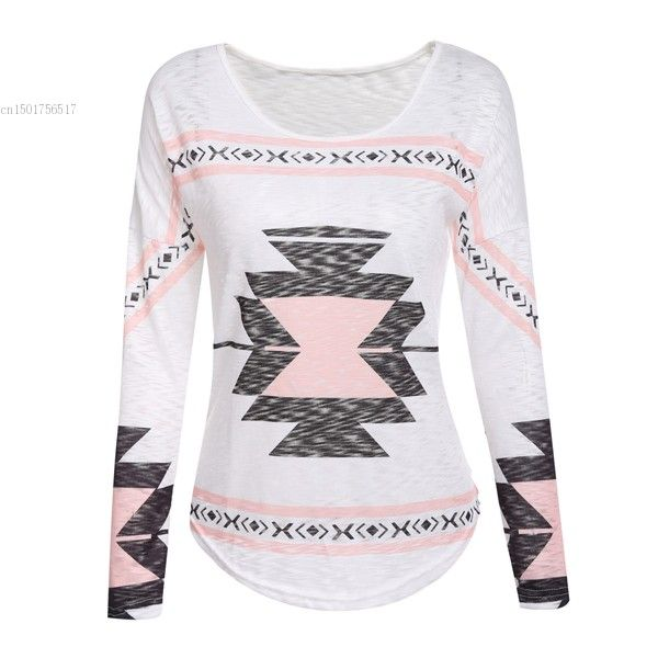 >> Click to Buy << Korean Graphic Tees Women T-shirt O-Neck Drop-Shoulder Batwing Long Sleeve Slim Fit Aztec Print Tee Shirt Femme Poleras De Mujer #Affiliate