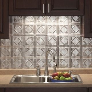 Fasade Traditional Style #4 Crosshatch Silver Backsplash Panel (Traditional  4 Crosshatch Silver 6 In X 6 In Sample)