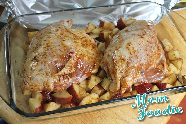 This recipe for marinated roast chicken breasts and potatoes bakes for almost an hour, but the prep time isn't that bad if you have all the ingredients handy. Looks filling!