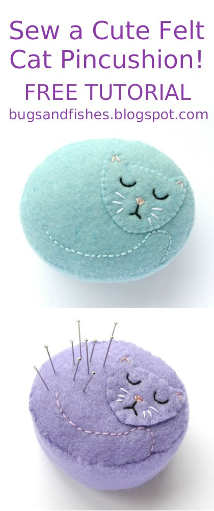 Today I'm sharing a tutorial for all you cat fans: how to make a sweet felt pincushion in the shape of a sleeping kitty! This project o...