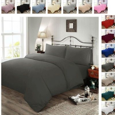 Plain Dyed Polycotton Duvet Cover with Pillow Case Set - Slate