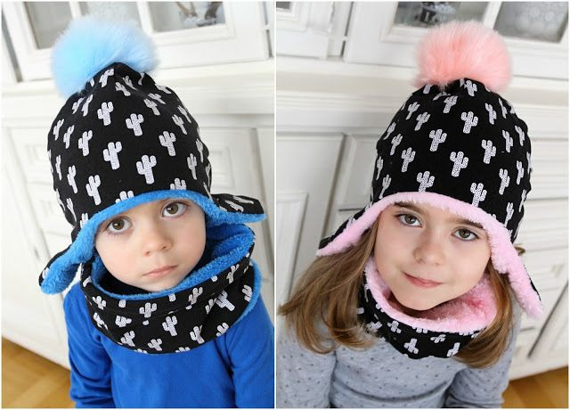 Lady Tattooch: Kaktusové s bambulema Cap Hat Winter Pompom Girl Boy Sewing Homemade Free Patern Tuttorial Mom Blog Blogger Neck Earflap Caps Scarf