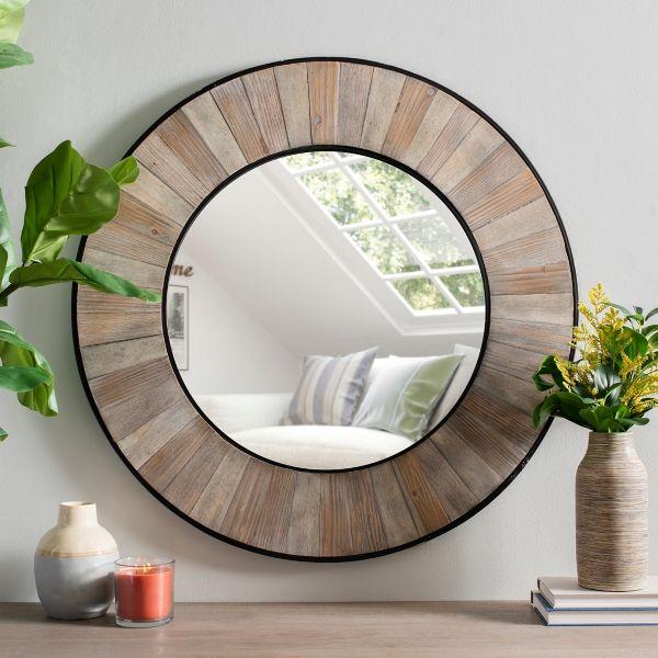 Rustic Wooden Plank Sunburst Wall Mirror From Kirkland S In 2020 Wooden Planks Mirror Wall Round Decor