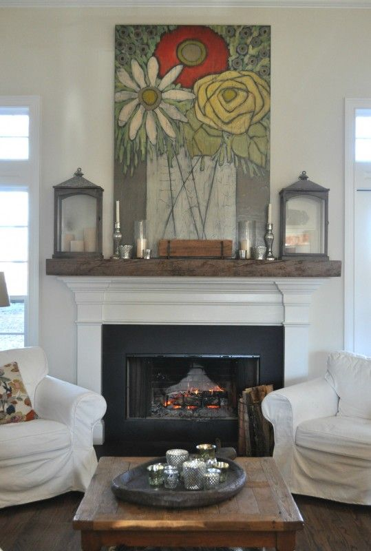 rustic wood on top of white fireplace 2 to tie together rustic mantle from fireplace