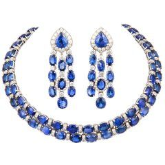 Ella Gafter Blue Sapphire Diamond Necklace and Cha…