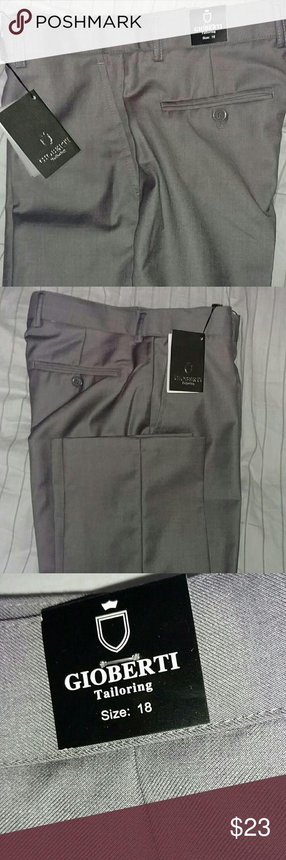 Gioberti boys grey dress pants Boys Grey Flat front dress pants with 2-4 adjustable waist. Gioberti Bottoms Formal