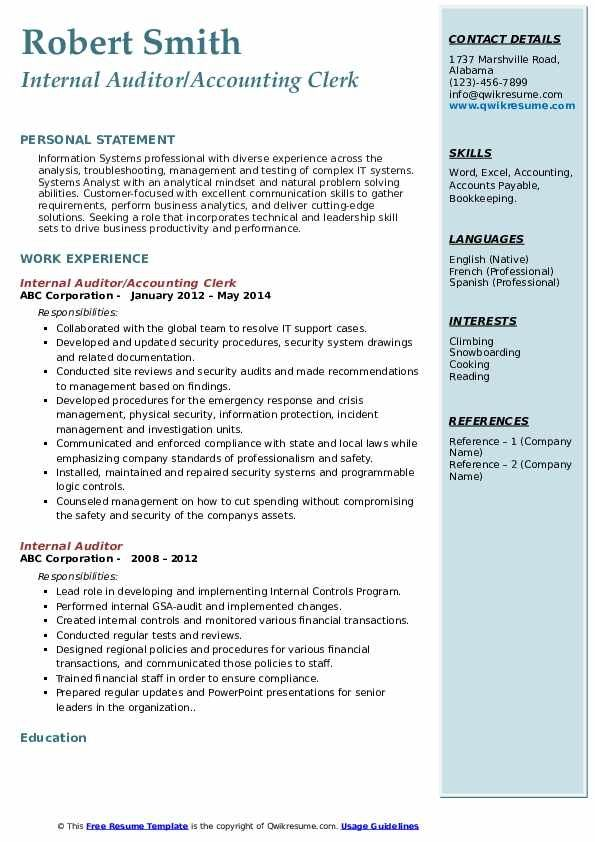 Internal Auditor Resume Samples Qwikresume