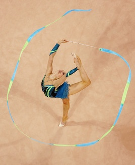 beautiful overhead picture of ribbon routine