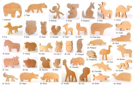 ALLE 4 Tiere Bio Holzspielzeug Tiere aus der von mielasiela