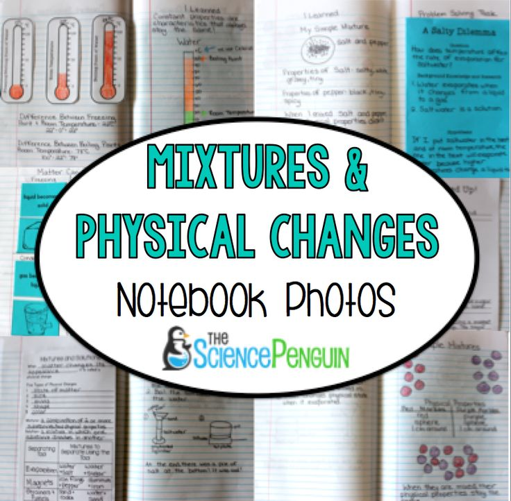 Physical Changes and Mixtures Science Notebook Photos~great way to see how the students Interactive notebook should look like