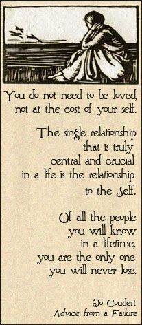 Of all the people you will know in a lifetime, you are the only one you will never lose : Joe Coudert @Gina Bossinger
