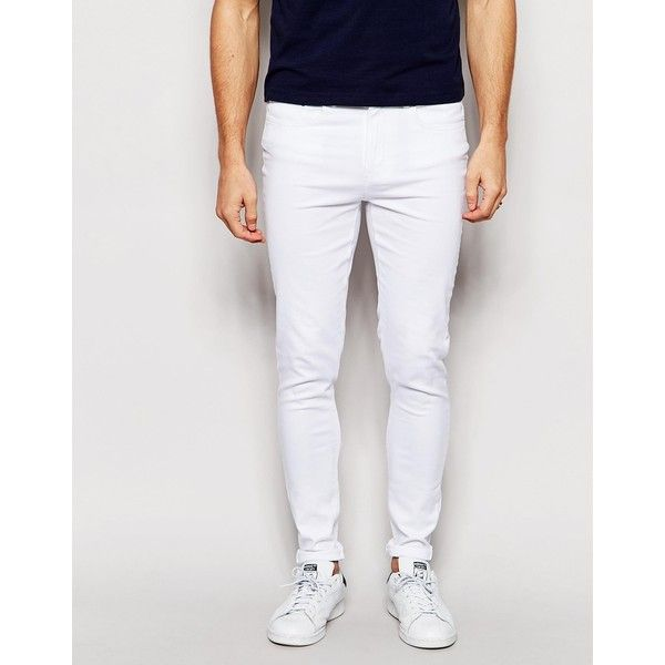 Waven Jeans Royd Extreme Super Skinny Fit Mid Rise White (53730 IQD) ❤ liked on Polyvore featuring men's fashion, men's clothing, men's jeans, white, mens super skinny jeans, mens skinny fit jeans, mens skinny jeans, mens white skinny jeans and mens white jeans
