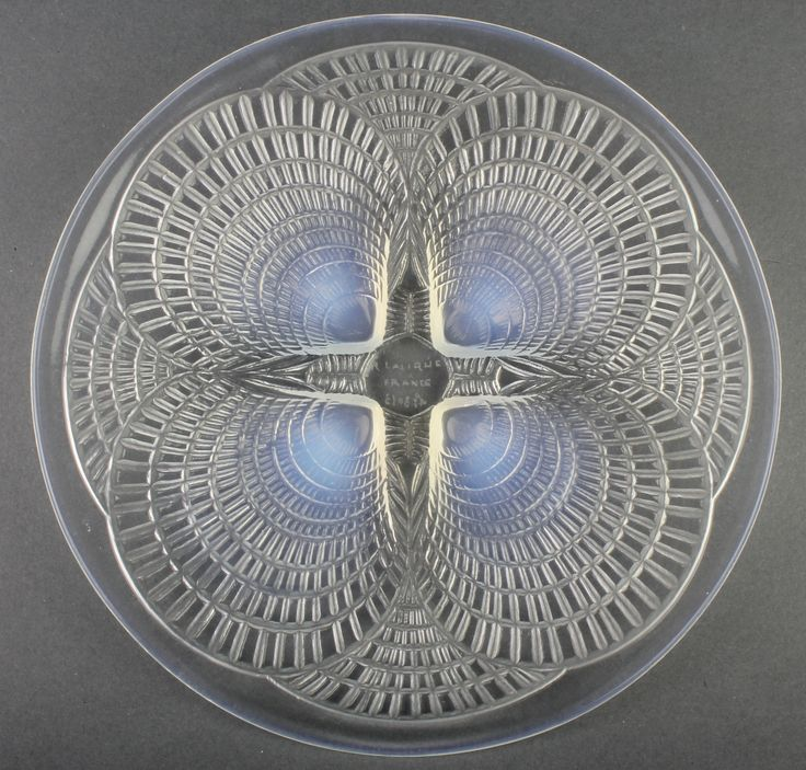 """Lot 116,  A Lalique Coquille dish with etched capital marks 7"""", est £200-300"""