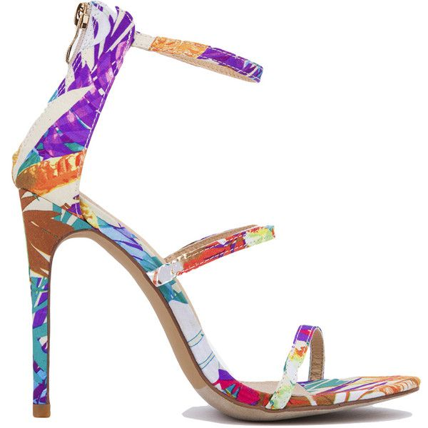 Triple Strap Stiletto Sandals - Floral ($37) ❤ liked on Polyvore featuring shoes, sandals, floral, strappy stilettos, high heels stilettos, open toe shoes, floral print sandals and open toe high heel sandals