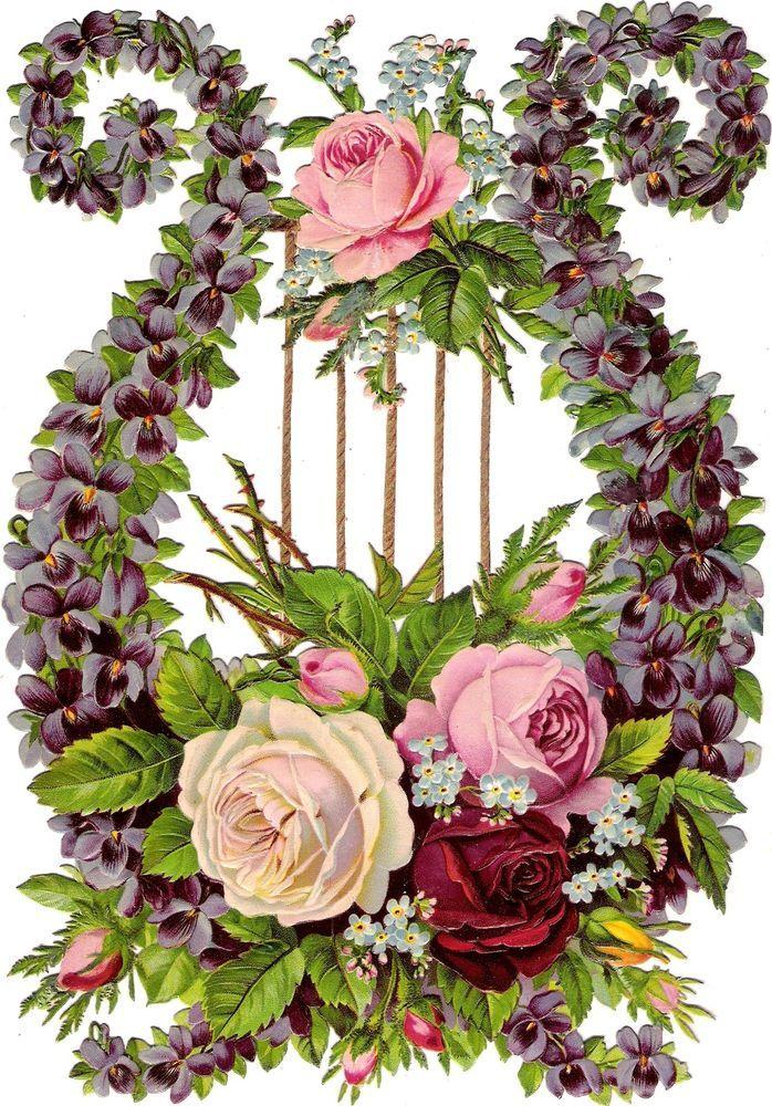 Oblaten Glanzbild scrap die cut chromo Lyra XL 24cm Veilchen violet flower fleur