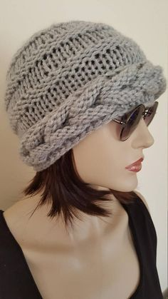 Autumn Slouch HatSlouchy beanie Grey knit cable Beanie hat