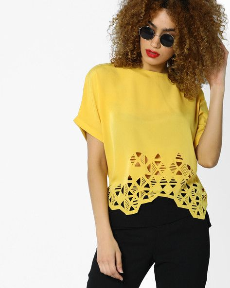 Buy Yellow AJIO Cut-Out Kaftan Top with Bell Sleeves | AJIO
