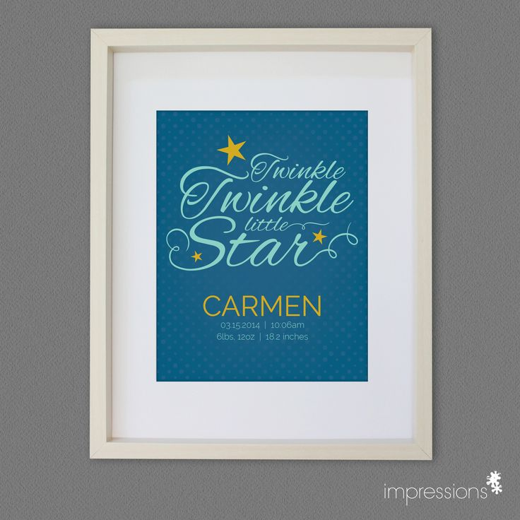 22 best nursery art by impressions images on pinterest art kids twinkle twinkle personalized nursery baby art great baby gift idea negle Image collections