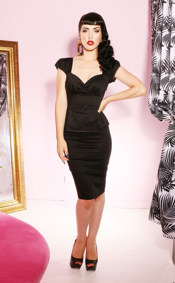 SALE Pinup rockabilly black peplum wiggle dress
