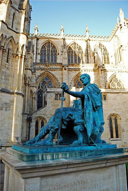 Constantine the Great statue, York Minster, York, North Yorkshire, England, UK