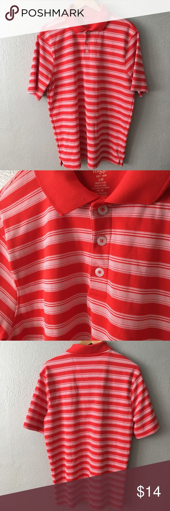Haggar Lightweight Striped Sport Polo Golf Shirt Men's striped lightweight polo shirt in size large. Item is in good condition with no rips, stains, or holes! Please check out my other listings as I do offer a bundle discount, I love offers! Haggar Shirts Polos