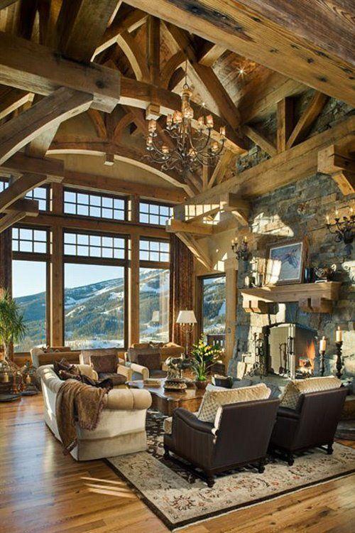 Just stunning...wooden beams.. #livingroomideas