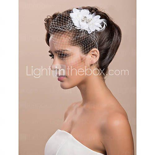 [USD $ 9.99] splendido tulle da sposa bianco, il copricapo di piume di strass