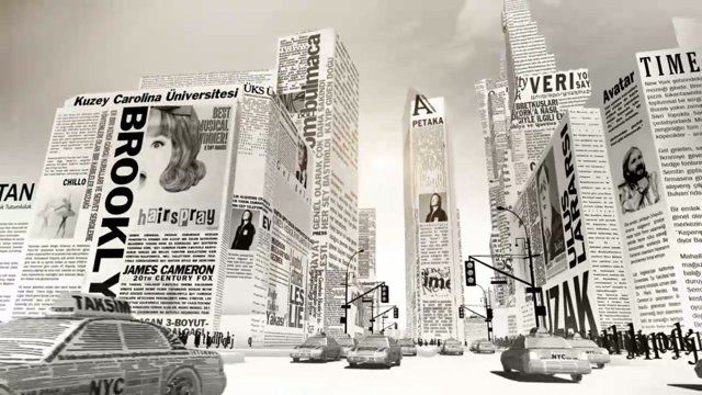This is our one minute advertisement for the launch of Turkish Edition of The New York Times.  We constructed typographic versions of the most recognizable landmarks in Manhattan and Istanbul, and created a compact tour taking the audience from the New York Harbor all the way to the Bosphorus. Actual pages from the first issue of the newspaper were used to create the textures used in the scenes. The financial news page became NYSE and Wall Street, entertainment news turned into Times Square…
