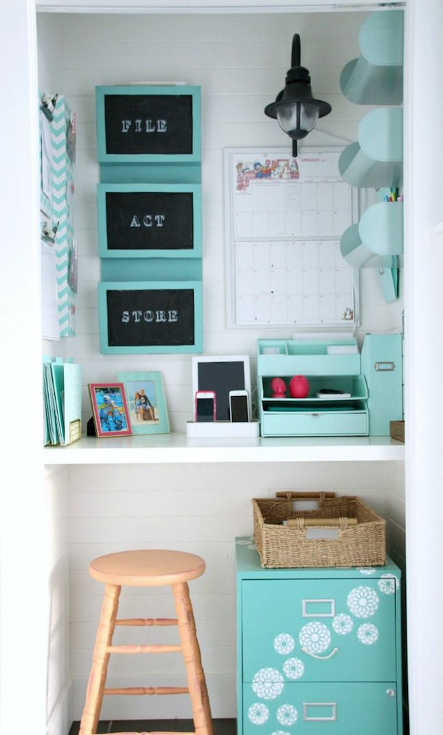 Convert your closet into an office space.