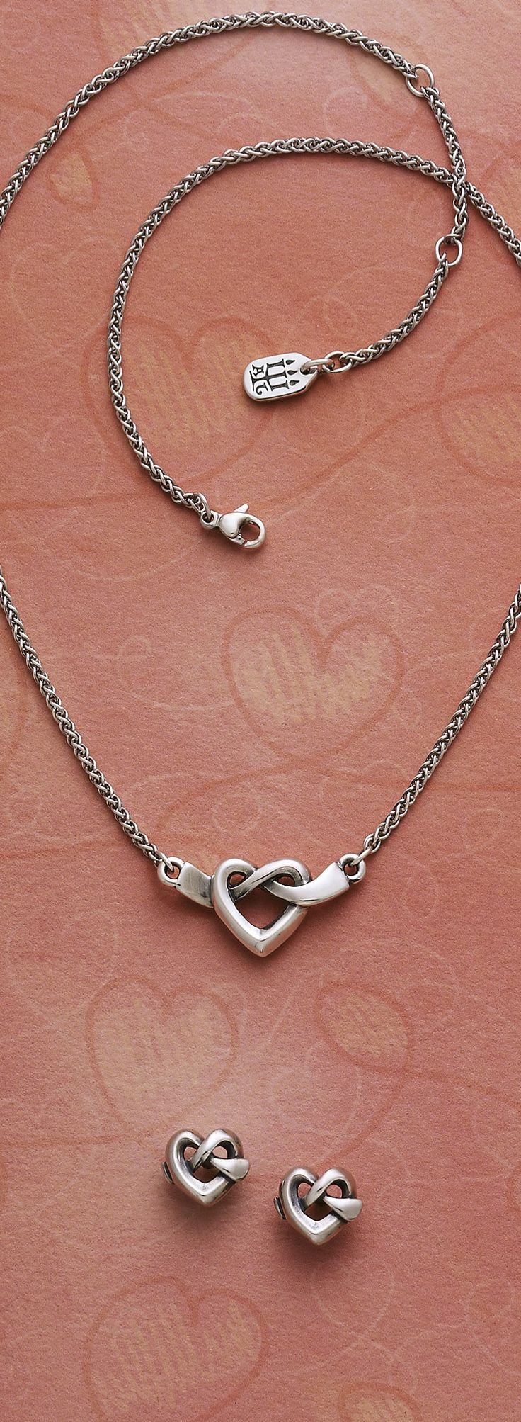 Heart Knot Necklace and Ear Posts #jamesavery