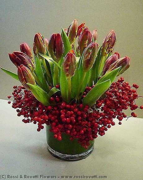 Red Parrot Tulips & Berries Flower Arrangement