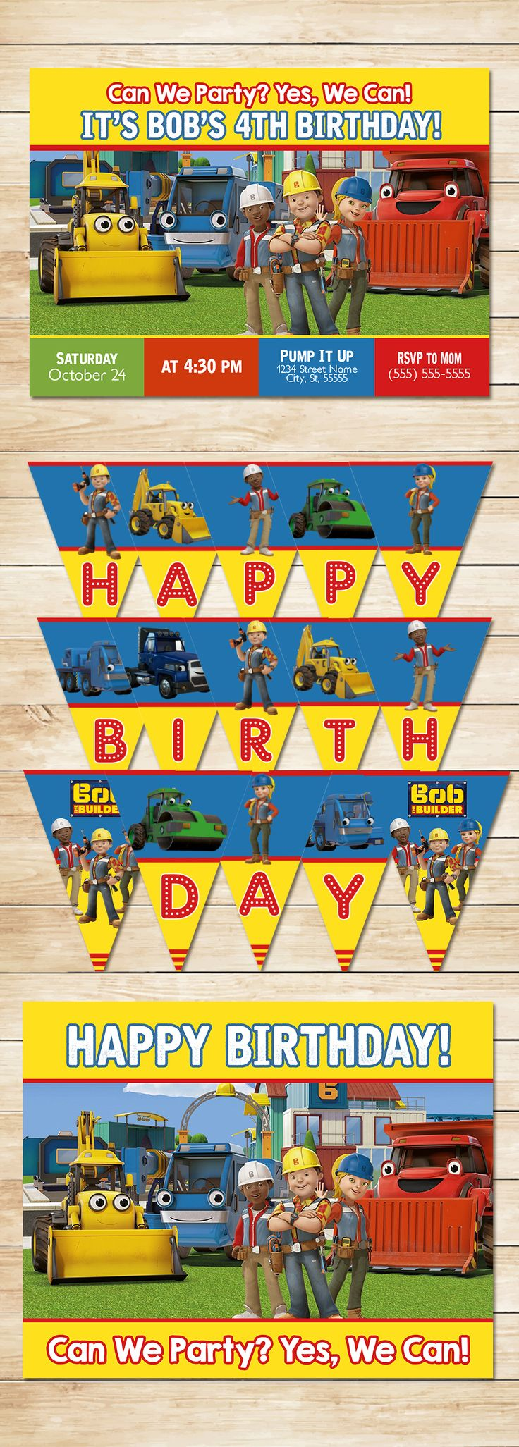 Bob the Builder Party * Bob The Builder Invitation * Bob The Builder Banner *Bob The Builder Birthday * Bob The Builder Printables