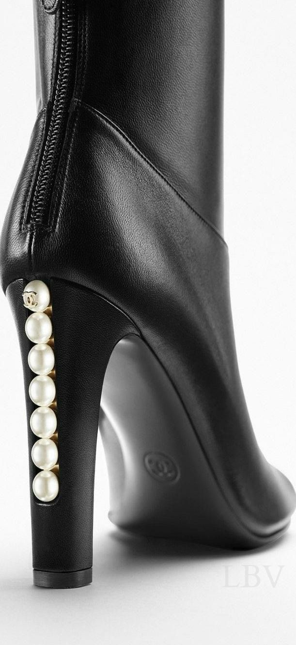 Chanel | black boots with pearls Love the classy and feminine design of the pearls lined in the back