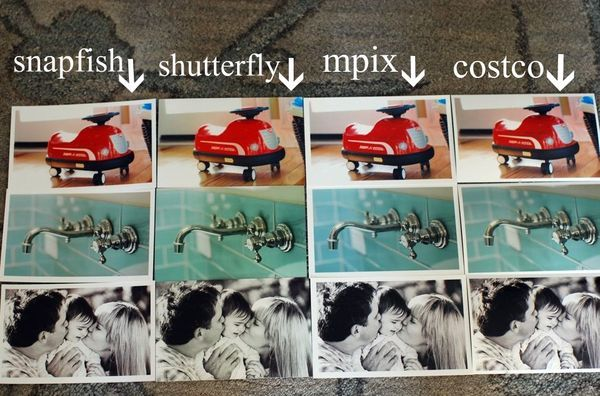 Comparison of photo printing services: Snapfish versus Shutterfly versus Mpix versus Costco, from Hollywood Housewife. Snapfish wins.