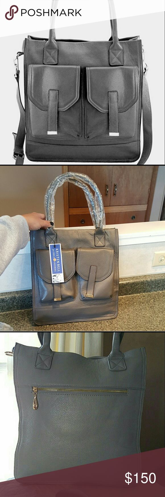 """NWT Kristen Bell for Erica Anenberg Tote Grey leather Madison Messenger Bag. Adjustable and detachable strap. Large. Also Holds up to 13 inch lap top. Bag Height 15"""" Bag Length 10"""" Strap Drop 8.5"""" Genuine leather exterior, suede interior Bags"""