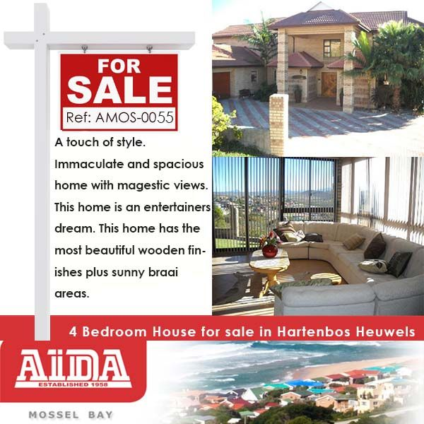 A touch of style. Immaculate and spacious home with majestic views. This home is an entertainers dream. This home has the most beautiful wooden finishes plus sunny braai areas. WEB REF: AMOS-0055 #house #property #hartenbos