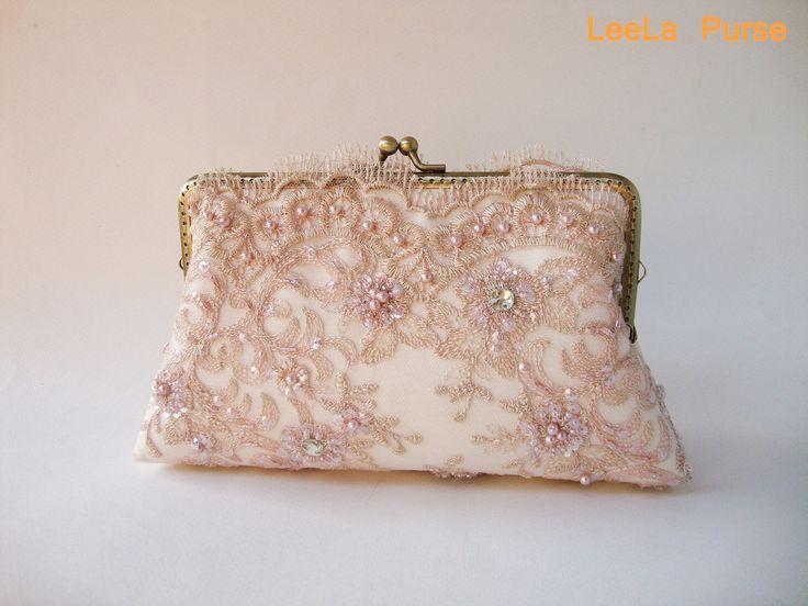 Vintage inspired - Lace Silk Clutch in Dusty Pink , wedding clutch, wedding bag, bridesmaid clutch, Bridal clutch. $65.00, via Etsy.