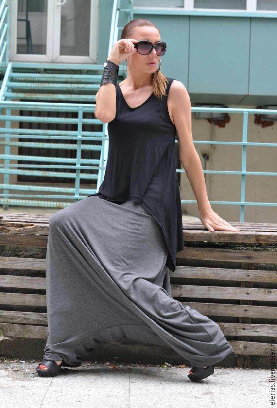 Купить Серые брюки из хлопка - серый, однотонный, серые брюки, брюки-шаровары, брюки женские