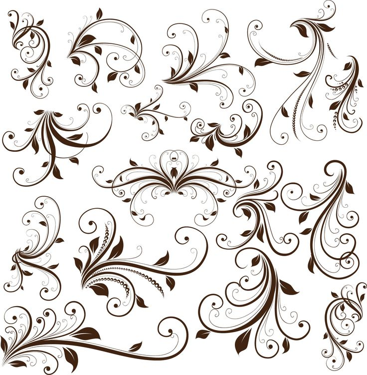 Great free Vector Graphic:  Swirl Floral Decorative Element Vector Graphic    Please read the blog! It has many other such great resources!