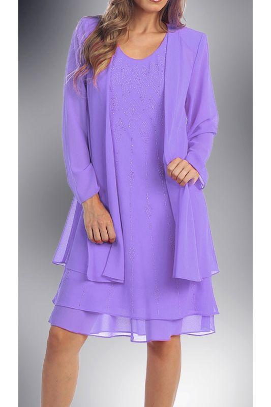Dámské lila šaty na svatbu