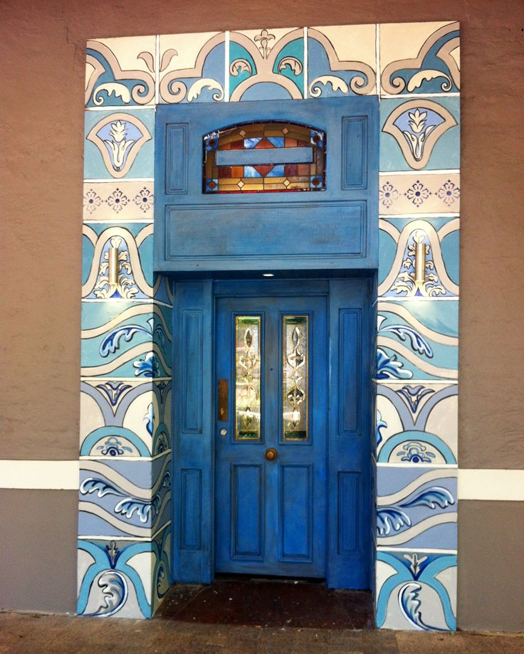 Hand painted front door to Moorish Blue Restaurant by Tara Green
